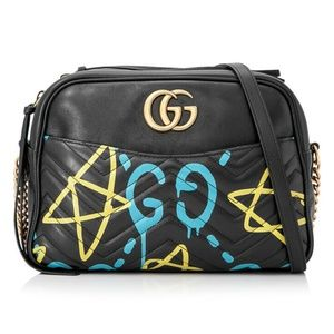 Gucci Marmont Ghost Chain Shoulder Black Lambskin